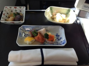 Japanese meal on ANA business class
